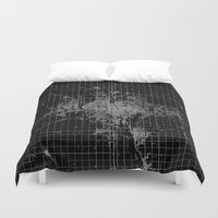 kansas Duvet Covers featuring Wichita map Kansas by Line Line Lines
