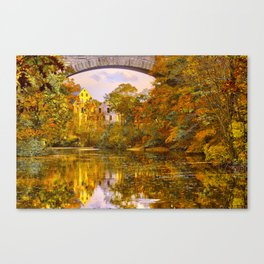Fall at Upper Falls, Massachusetts.  Echo Bridge Canvas Print