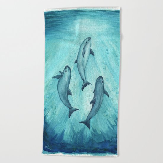 """Song of the Vaquita"" by Amber Marine ~ Watercolor Painting, (c) 2015 Beach Towel"