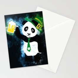 Patrick the Panda in Black Grunge Background Stationery Cards