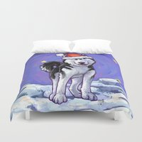 husky Duvet Covers featuring Husky Christmas by Imagine That! Design