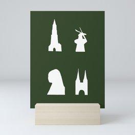 Delft silhouette on green Mini Art Print