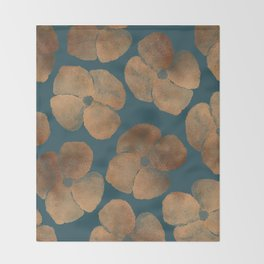 Abstract Metal Copper Flowers on Emerald Throw Blanket