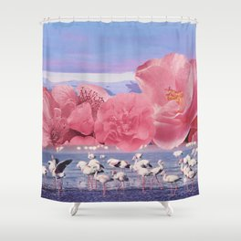 Floral Flamingos Shower Curtain
