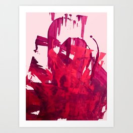 Embers: a vibrant abstract piece in pinks Art Print