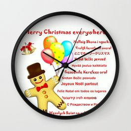 Merry Christmas everywhere Wall Clock
