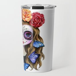 Sugar Skull Gil with Flower Crown and Butterflies Travel Mug