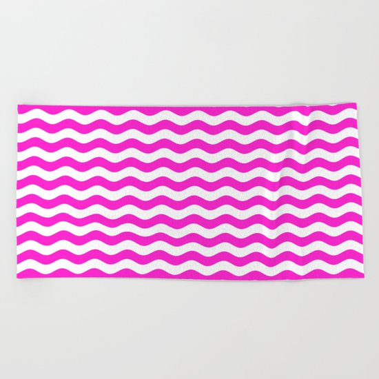 Wavy Stripes (Hot Magenta/White) Beach Towel