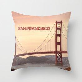 Golden Gate Bridge San Francisco With City Name Throw Pillow