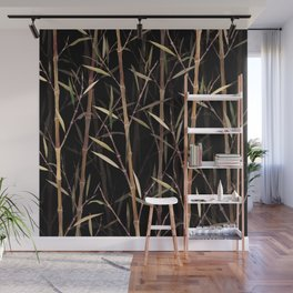 Dry Bamboo Forest at Night Wall Mural