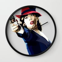 agent carter Wall Clocks featuring AGENT CARTER Reporting for Duty by Danielle Aragon