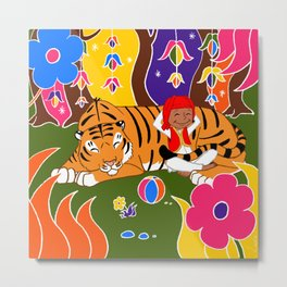 Tigre et enfant Metal Print