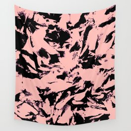 Old Rose Black Abstract Military Camouflage Wall Tapestry