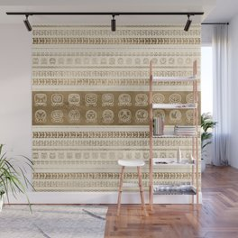 Maya Calendar Glyphs gold on pastel beige Wall Mural