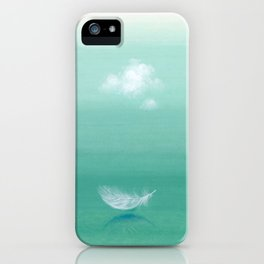 blue sky and feather iPhone Case