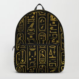 Egyptian Ancient Gold hieroglyphs on black Backpack