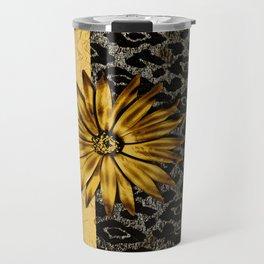 ANIMAL PRINT BLACK AND GOLD FLOWER MEDALLION Travel Mug