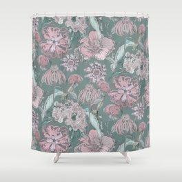 Flower green patter Shower Curtain