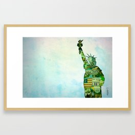 Lady Liberty Collage Poster Framed Art Print