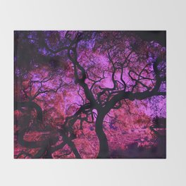 Under the Tree in Pink and Purple Throw Blanket