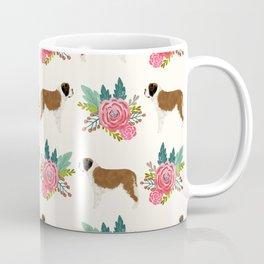Saint Bernard florals dog breed floral bouquet dog pattern minimal pet friendly Coffee Mug