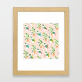 Cute tropical plant pattern on peach Framed Art Print