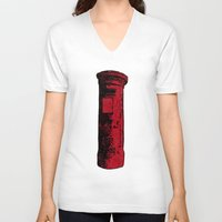 british V-neck T-shirts featuring British Postbox by Carrie at Dendryad Art