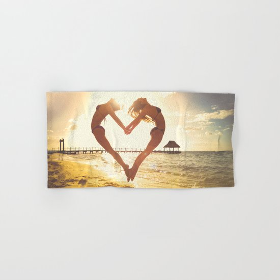 heart beach holiday 5 Hand & Bath Towel