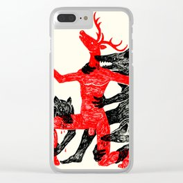The Wolf People Kill the Deer Man Clear iPhone Case