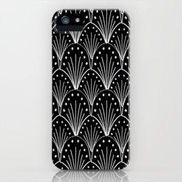 linocut 20s art deco pattern minimal black and white printmaking art iPhone Case