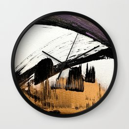 Axis [1]: a bold, minimal abstract in gold, purple, blue, black and white Wall Clock