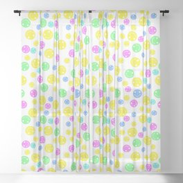 Smiling Faces White XL Sheer Curtain