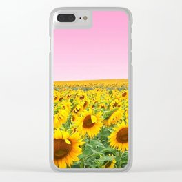 Blushing Sunflower Feilds Clear iPhone Case