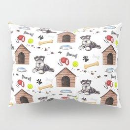 Schnauzer Dog Half Drop Repeat Pattern Pillow Sham