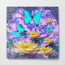 YELLOW WATER LILIES BLUE BUTTERFLIES ABSTRACT Metal Print