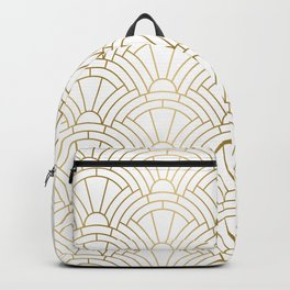 Gold and white geometric Art Deco pattern Backpack