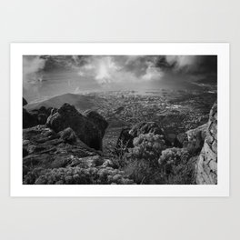 Scenic view of Cape Town from Table mountain. Art Print