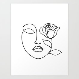 Beauty woman face with rose. Abstract minimal fine art. One line drawing. Art Print