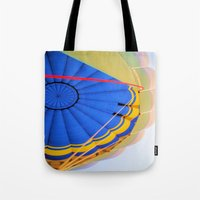 hot air balloon Tote Bags featuring BALLOON LOVE - Hot Air Balloon by Brian Raggatt