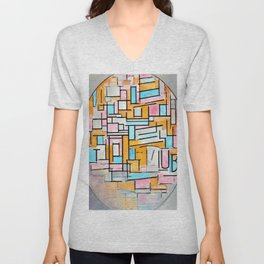 Composition In Oval With Color Areas 2 - Piet Mondrian Unisex V-Neck