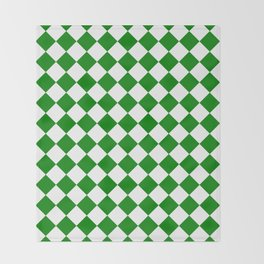 Diamonds - White and Green Throw Blanket