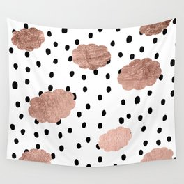 Modern rose gold clouds black rain polka dots pattern Wall Tapestry