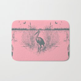 Oriental Exotic Heron & Birds on a Lake Print - Pink Bath Mat