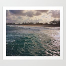 Stormy Coastline, rain clouds and sunlight Art Print