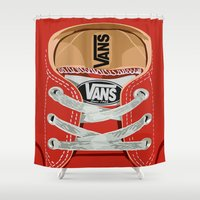 vans Shower Curtains featuring Cute red Vans all star baby shoes apple iPhone 4 4s 5 5s 5c, ipod, ipad, pillow case and tshirt by Three Second