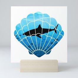 Shark in the ocean, black shark, blue ocean, seashell art Mini Art Print