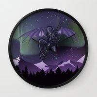aurora Wall Clocks featuring Aurora by Melissa Dekker