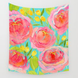 Pink Peonies On Turquoise - Watercolor Floral Print  Wall Tapestry