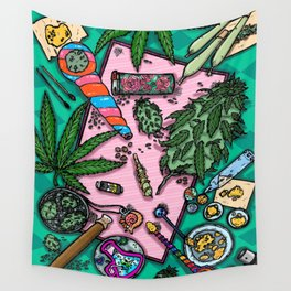 Cannabis Altar I Wall Tapestry