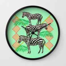zebras in the jungle Wall Clock
